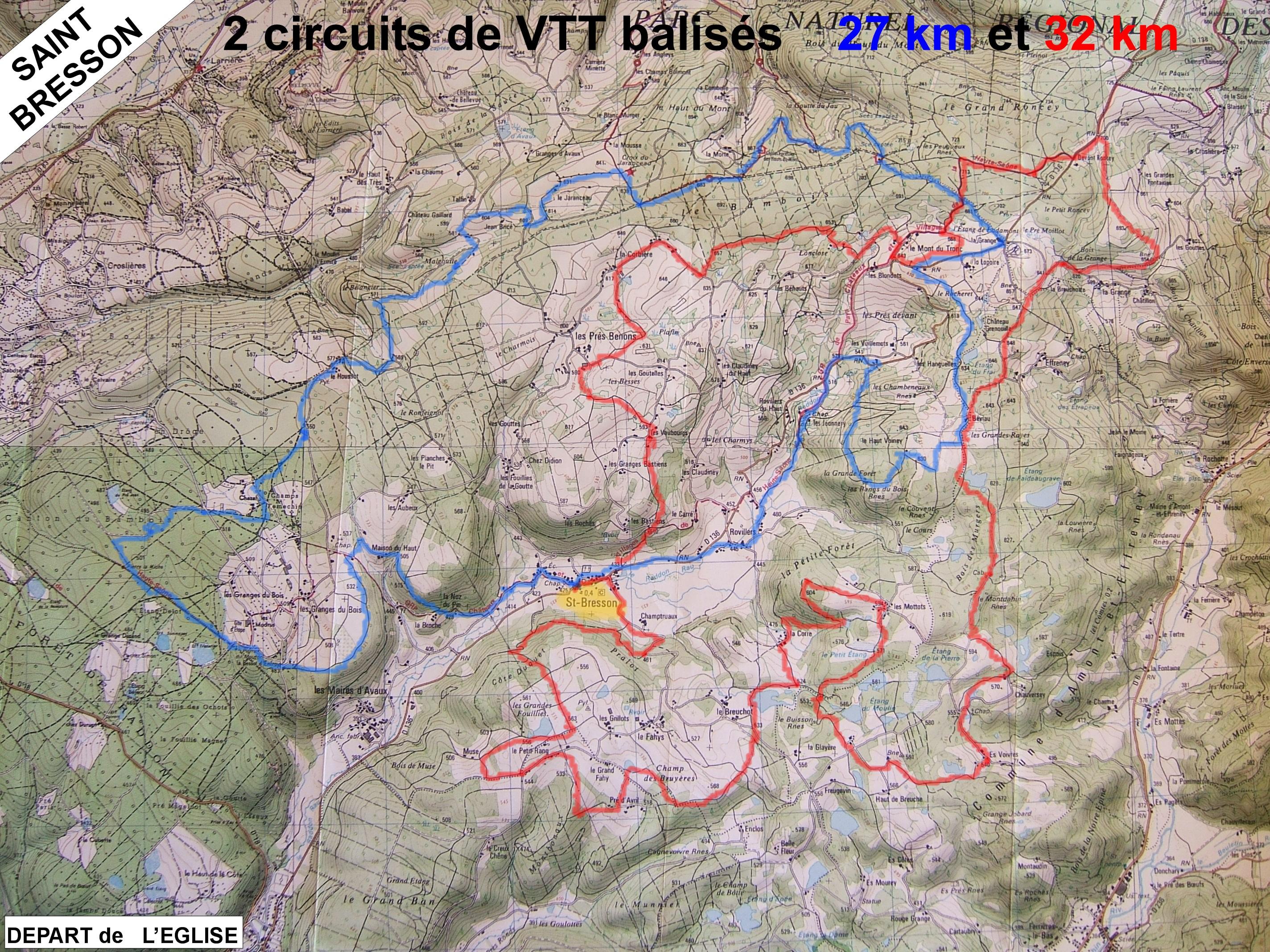 circuits VTT autour de St-Bresson (vosges saonoises)